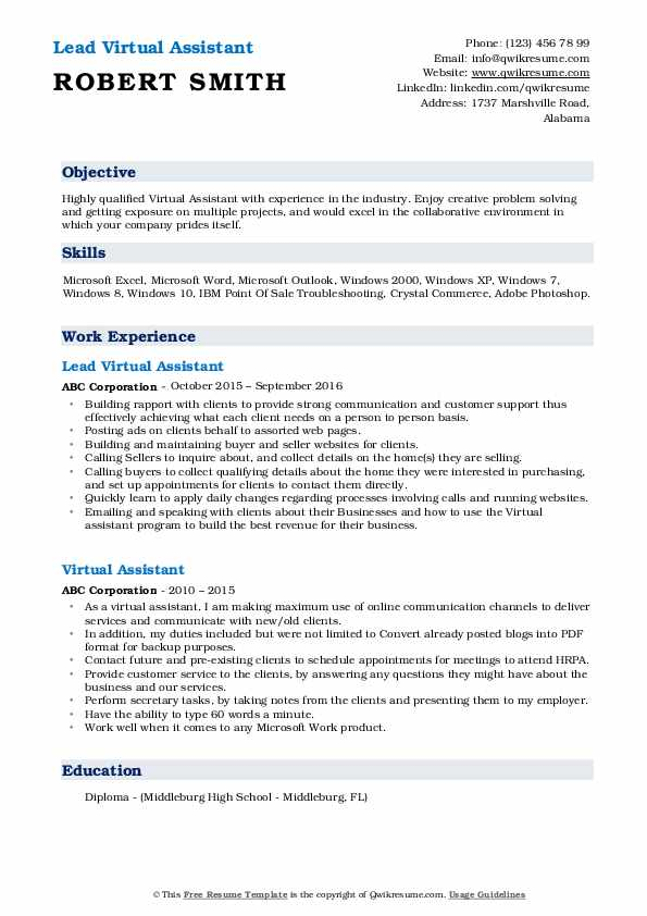Lead Virtual Assistant Resume Format