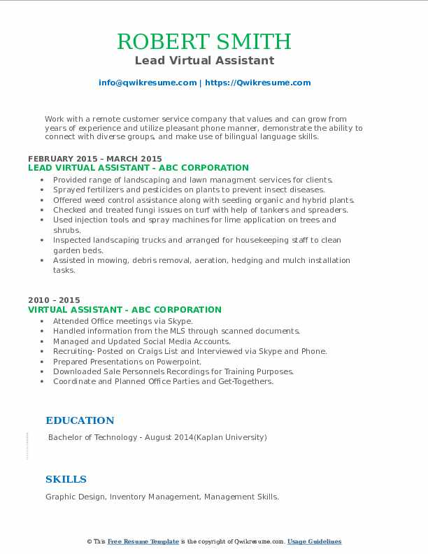 virtual assistant resume samples