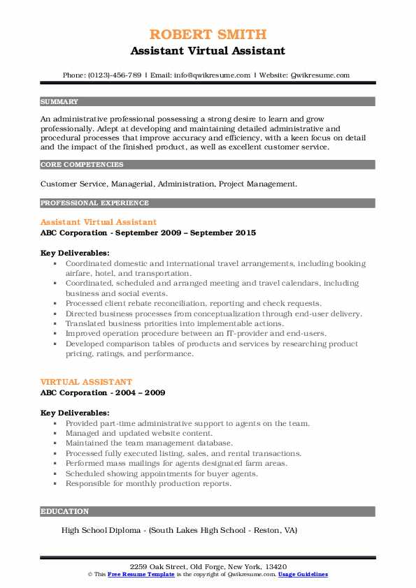 Assistant Virtual Assistant Resume Example