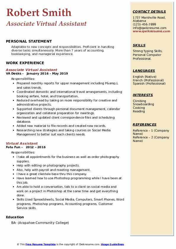 Associate Virtual Assistant Resume Sample