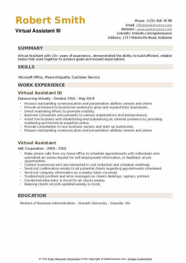 Virtual Assistant III Resume Example