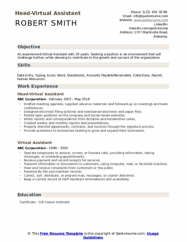 Head-Virtual Assistant Resume Example