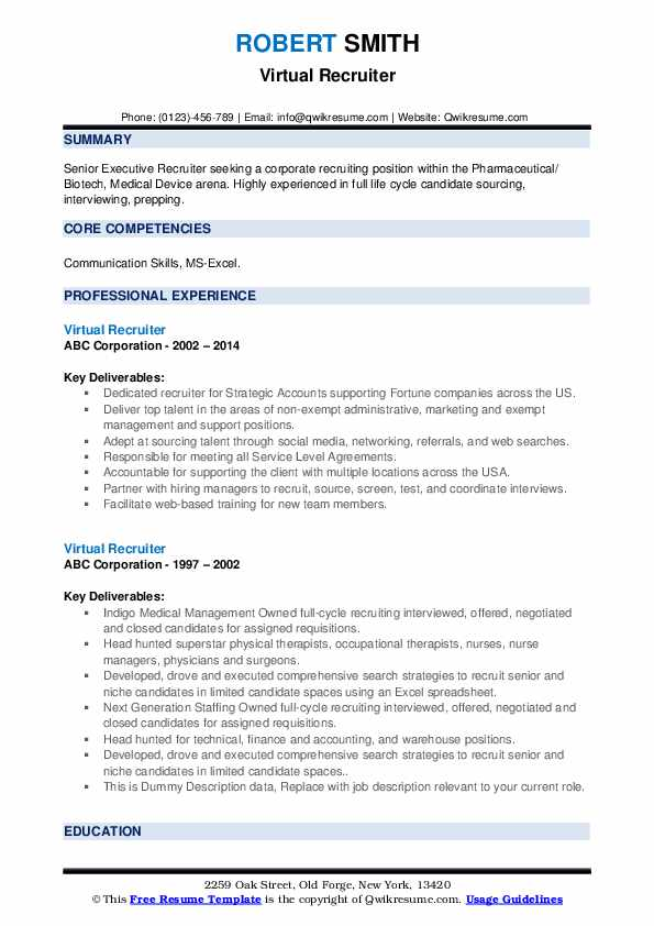 Virtual Recruiter Resume example
