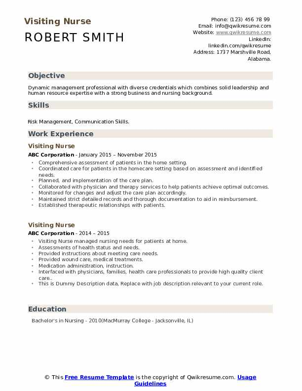 Visiting Nurse Resume example