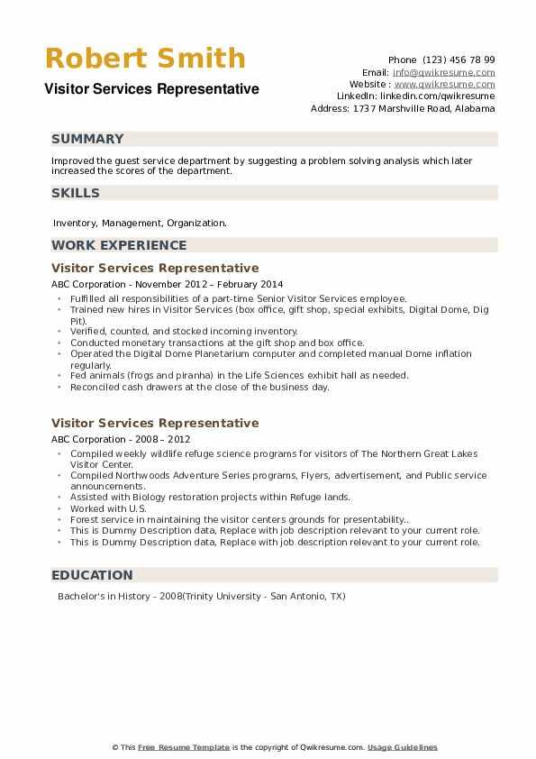 Visitor Services Representative Resume example