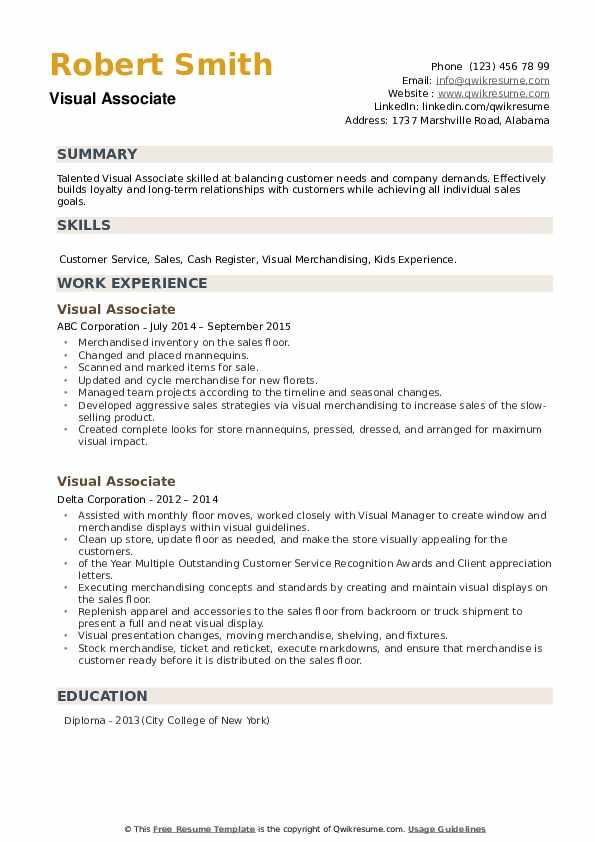 Visual Associate Resume example