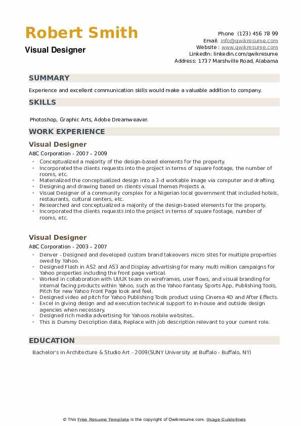 Visual Designer Resume example