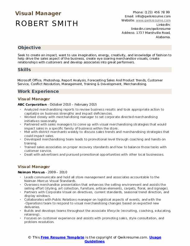 Visual Manager Resume Model