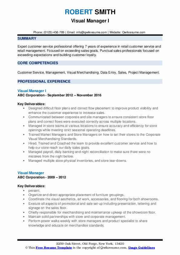 Visual Manager I Resume Format