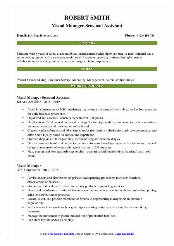Visual Manager-Seasonal Assistant Resume Model
