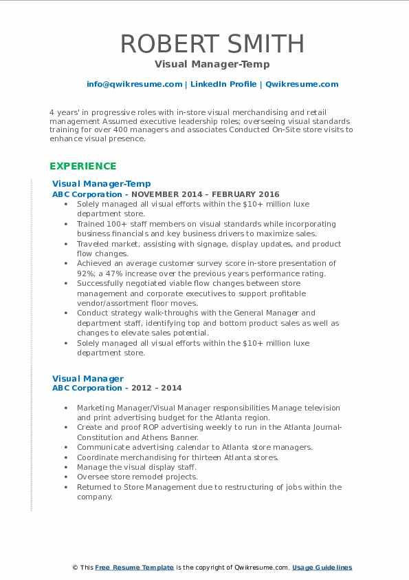 Visual Manager-Temp Resume Model