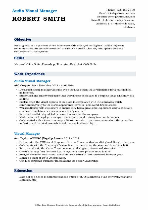Audio Visual Manager Resume Format