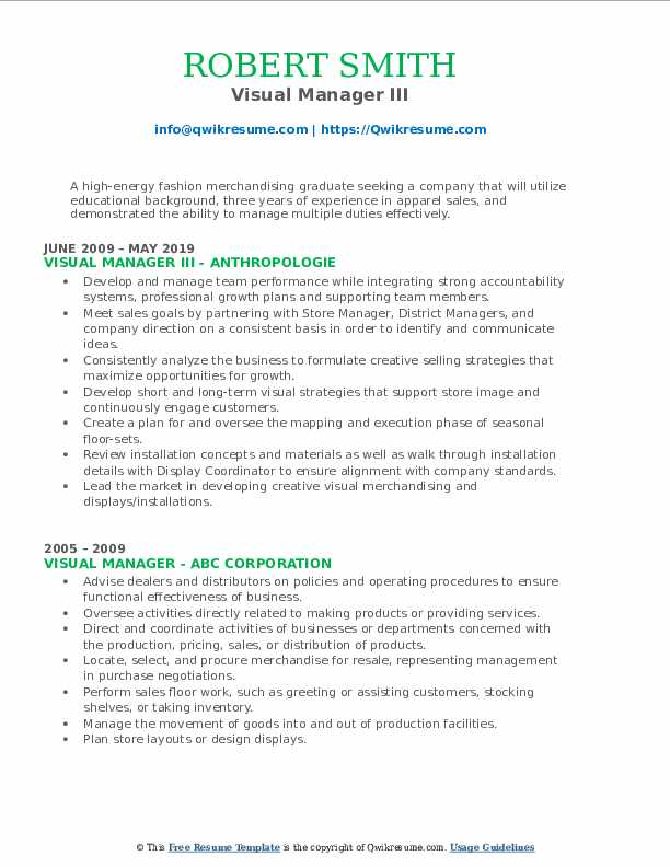 Visual Manager III Resume Format