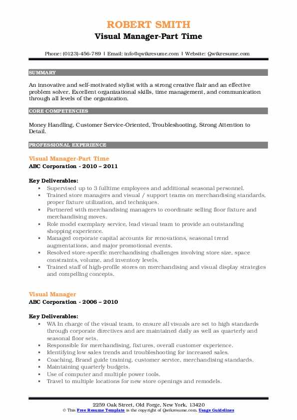 Visual Manager-Part Time Resume Sample