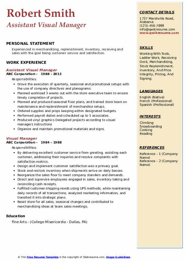 Assistant Visual Manager Resume Model