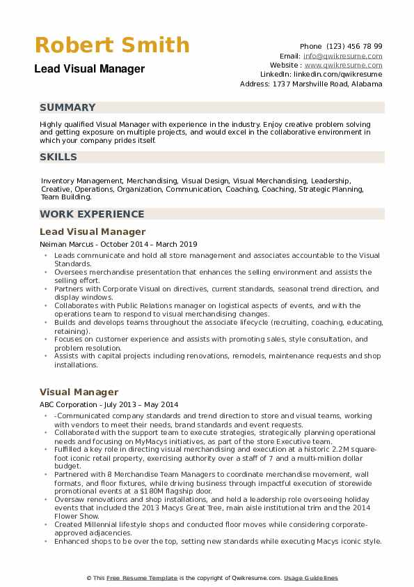 Lead Visual Manager Resume Format