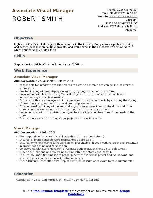 Associate Visual Manager Resume Model