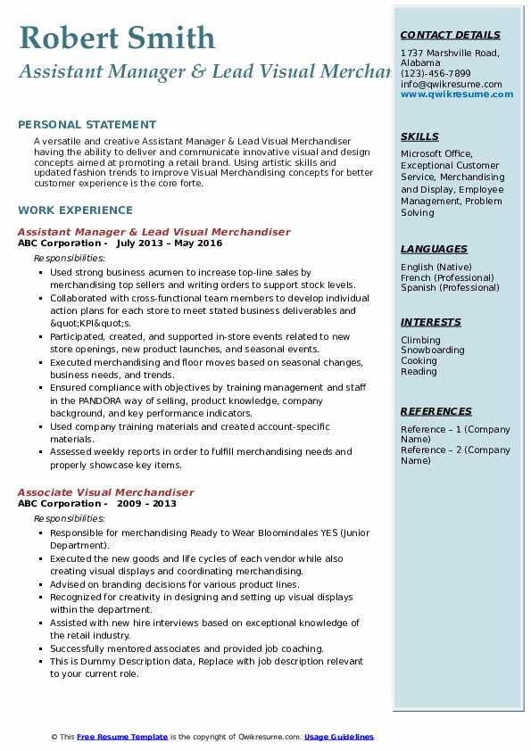 Assistant Manager & Lead Visual Merchandiser Resume Format