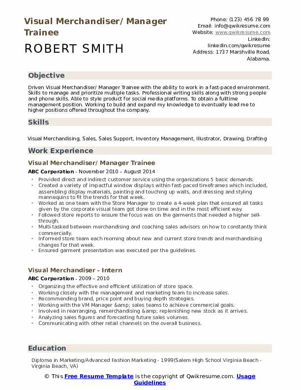 Visual Merchandiser/ Manager Trainee Resume Format