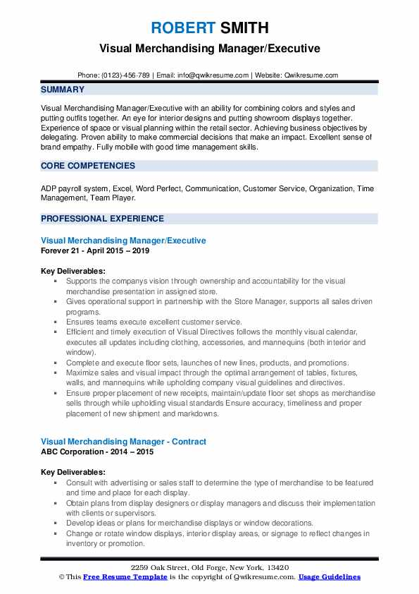 Visual Merchandising Manager/Executive Resume Format