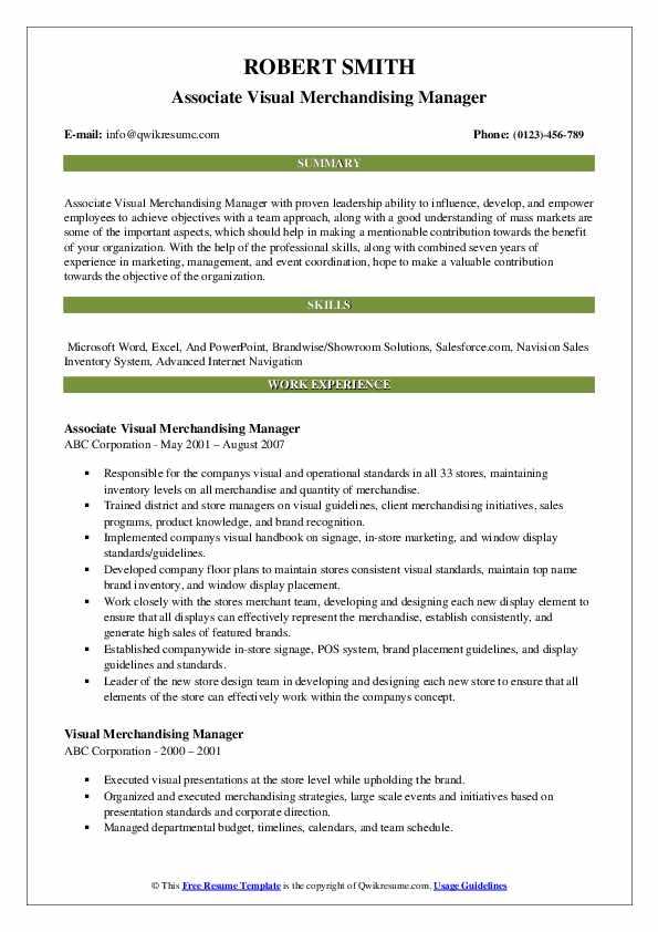 Associate Visual Merchandising Manager Resume Template