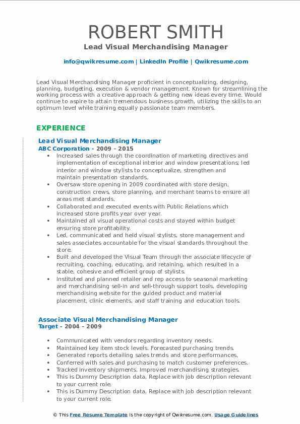 visual merchandising manager resume samples