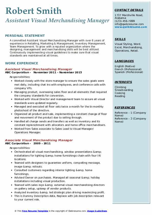 Assistant Visual Merchandising Manager Resume Example