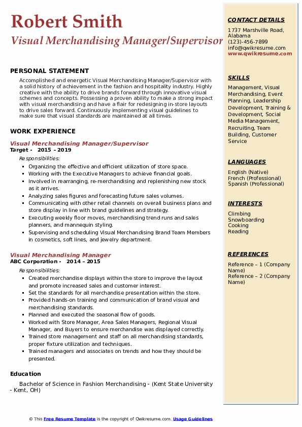 Visual Merchandising Manager/Supervisor Resume Format