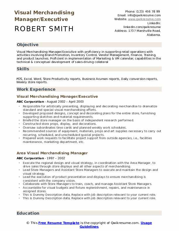 Visual Merchandising Manager Resume example
