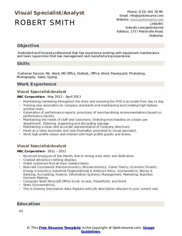 visual specialist resume samples
