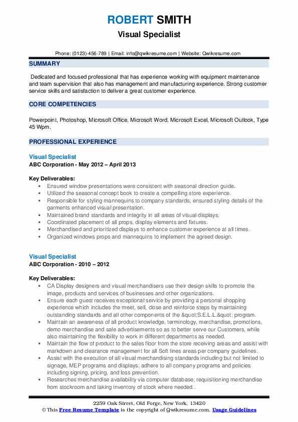 Visual Specialist Resume example