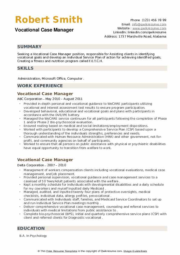 Vocational Case Manager Resume example