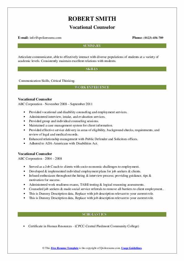 Vocational Counselor Resume example