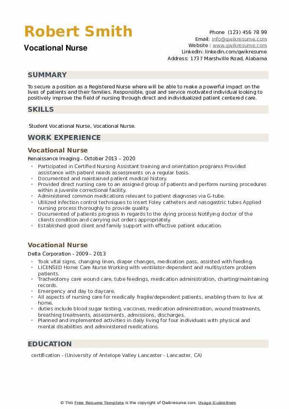 Vocational Nurse Resume example