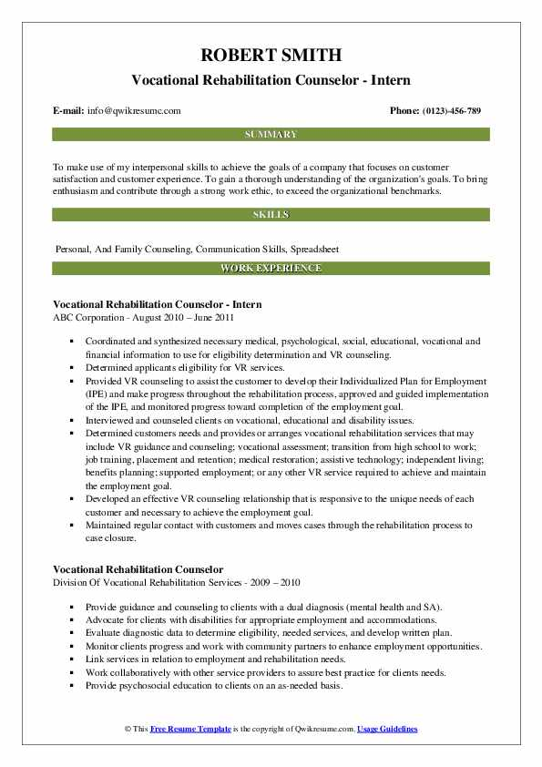 Vocational Rehabilitation Counselor - Intern Resume Sample