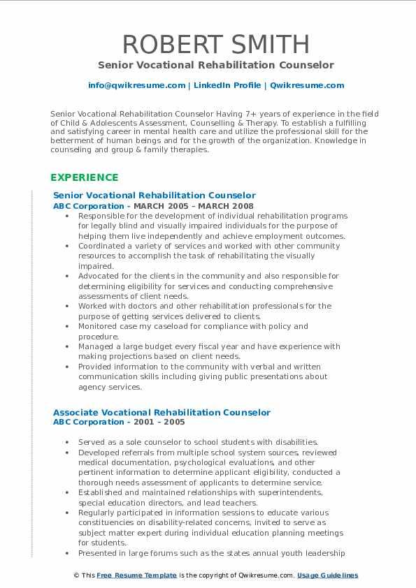 vocational rehabilitation counselor resume samples