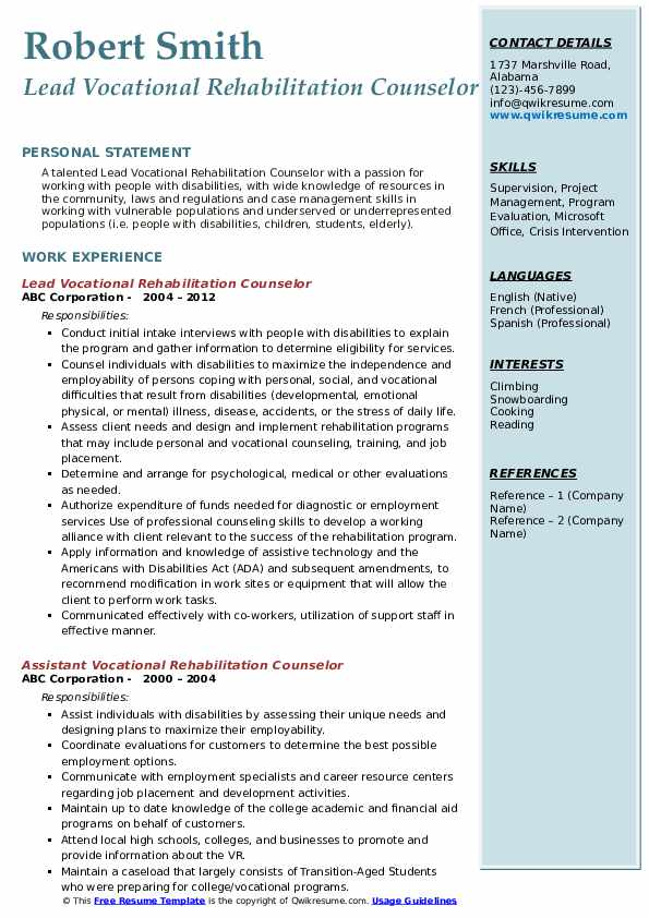 Lead Vocational Rehabilitation Counselor Resume Sample