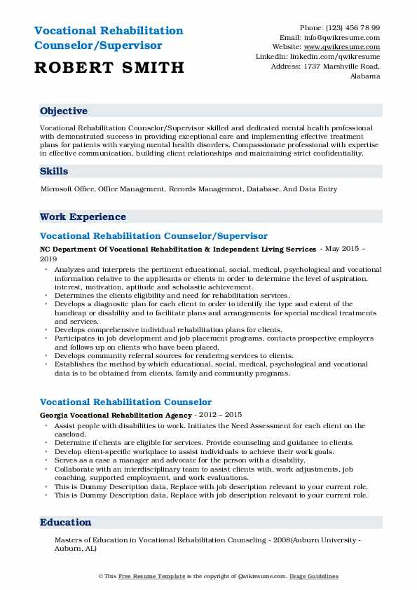 Vocational Rehabilitation Counselor/Supervisor Resume Example