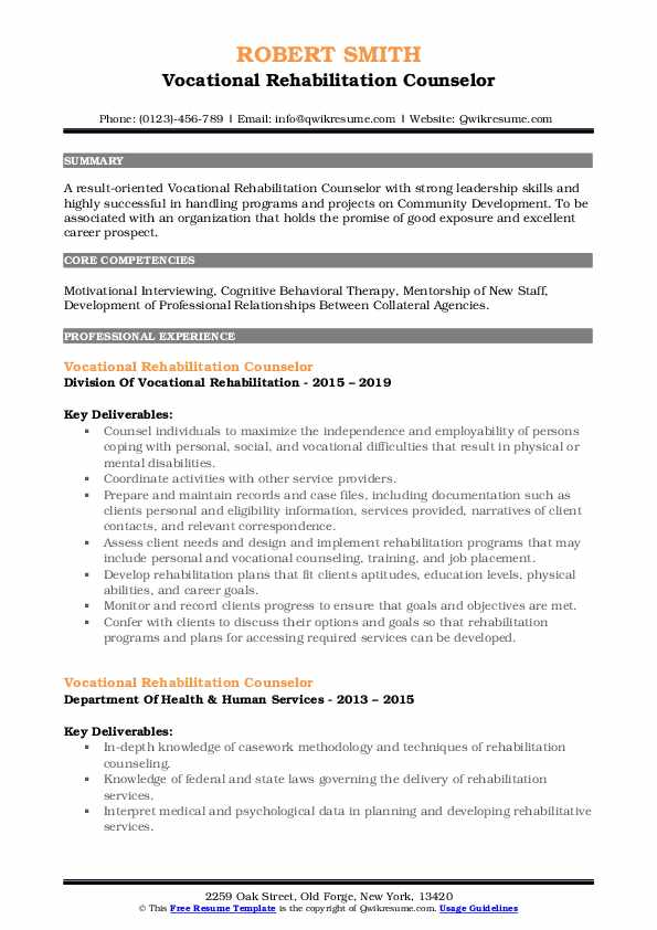 Vocational Rehabilitation Counselor Resume Format