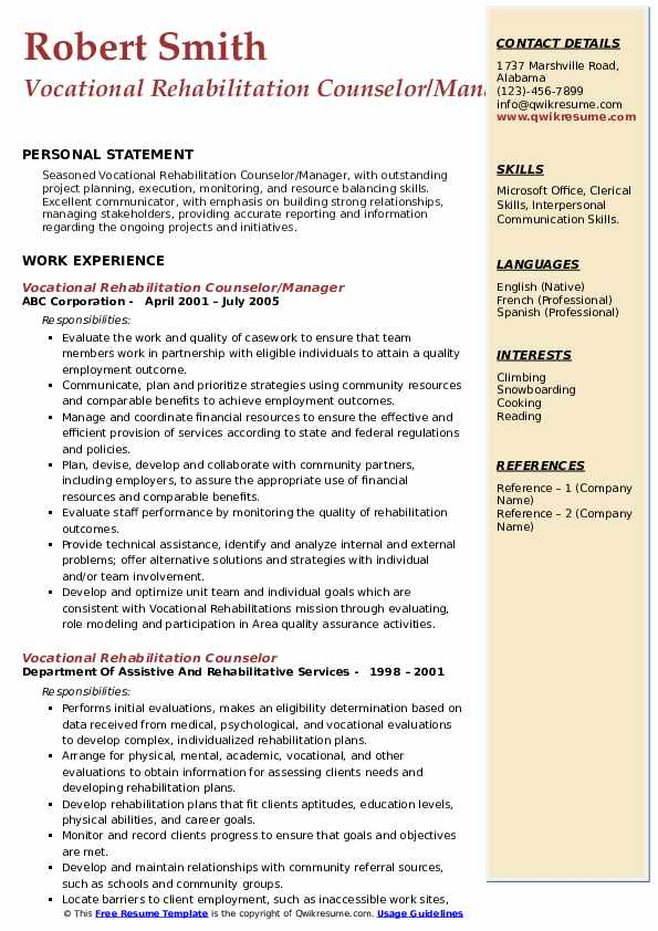 Vocational Rehabilitation Counselor/Manager Resume Example