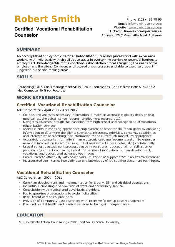 Certified  Vocational Rehabilitation Counselor Resume Example