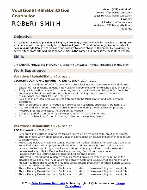 Vocational Rehabilitation Counselor Resume example