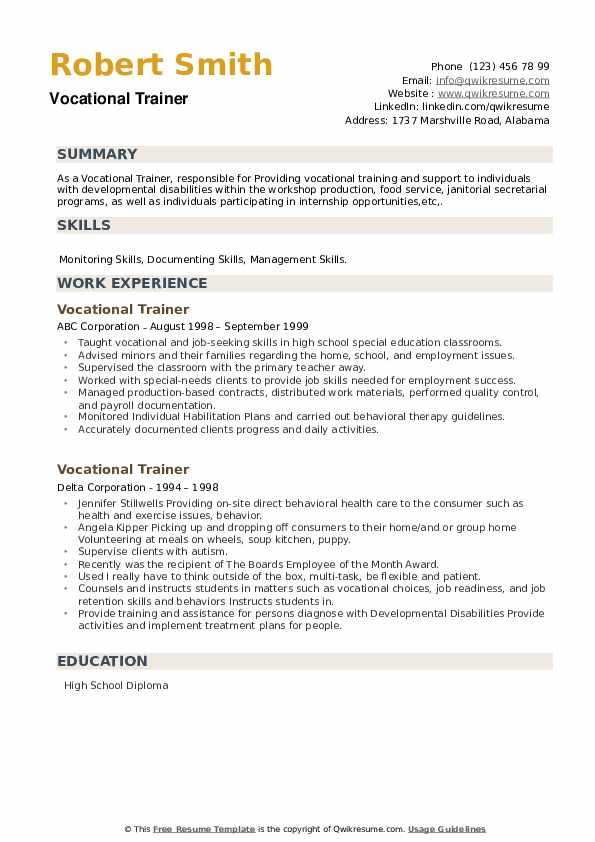 Vocational Trainer Resume example