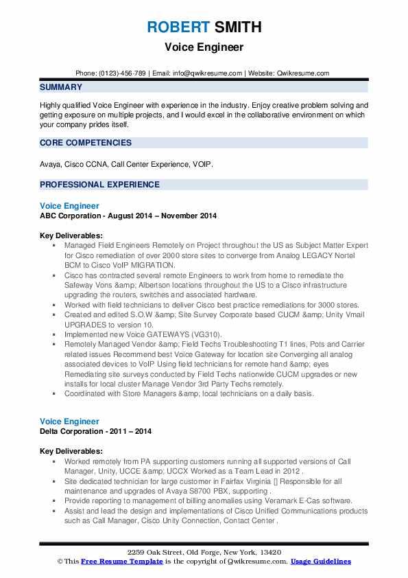 voice engineer resume sample