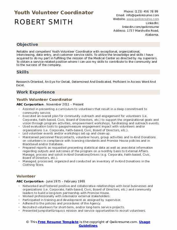 Volunteer Resume Samples Qwikresume