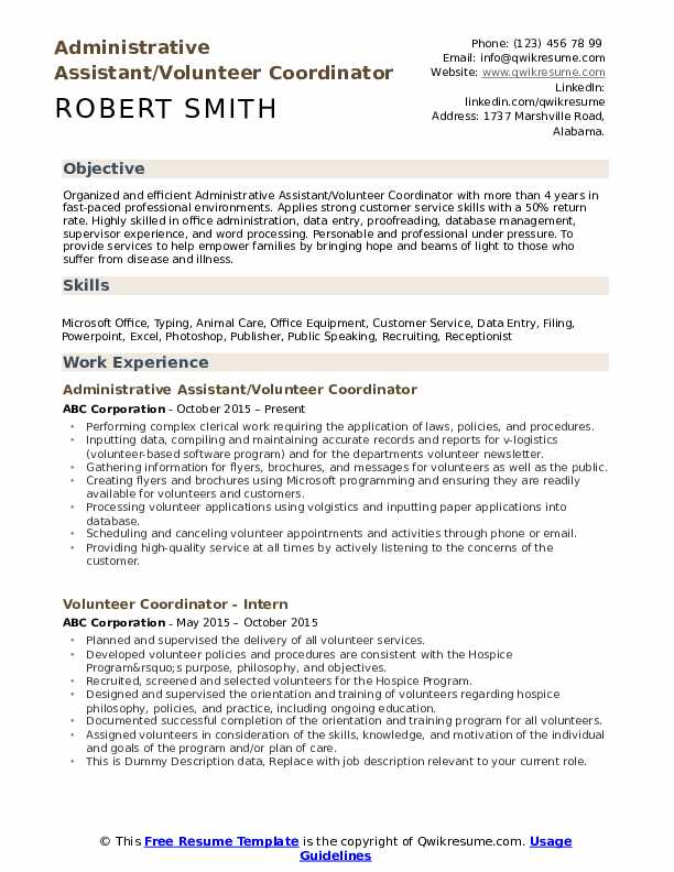 Administrative Assistant/Volunteer Coordinator Resume Format