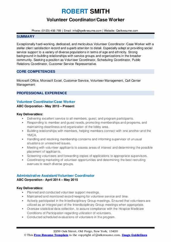 Volunteer Coordinator/Case Worker Resume Example