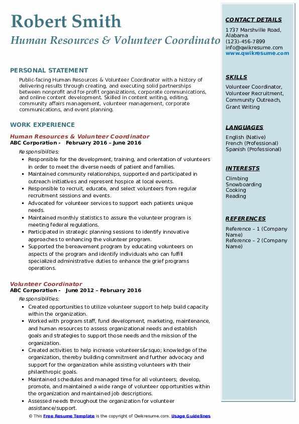 Human Resources & Volunteer Coordinator Resume Model