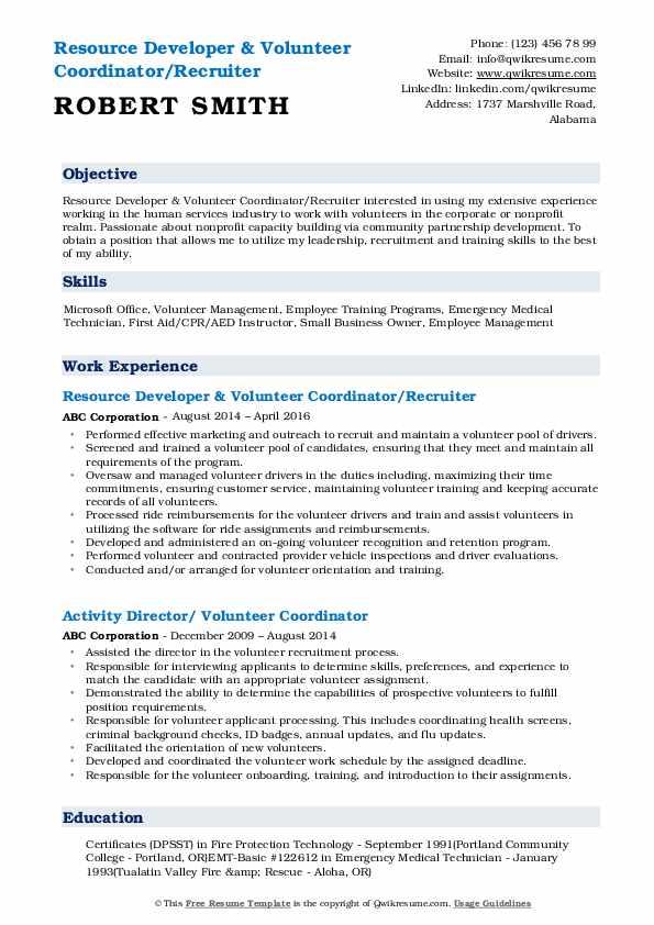 Resource Developer & Volunteer Coordinator/Recruiter Resume Model