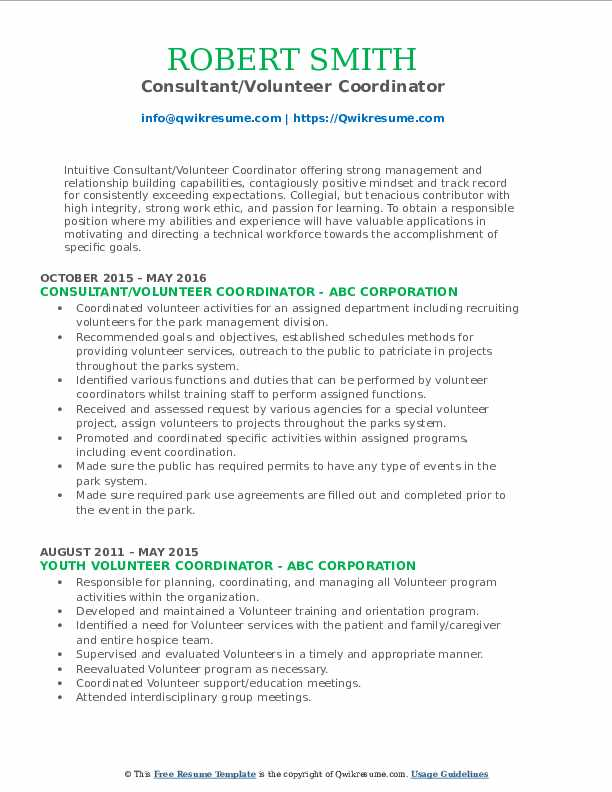 Consultant/Volunteer Coordinator Resume Format